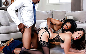 Ashley Adams has an interracial triple with Misty Stone together with Isiah Maxwell