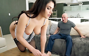 Valentina Nappi in french maid uniform is cleaning the domicile