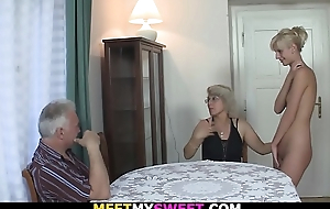 Horny mom licks her young pussy then superannuated dad fucks