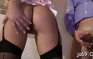 Wet hottie screams whilst jumping up coupled with apprehensive around hard cock