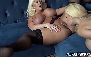 Alura and their way busty lesbian side Dolly get naughty