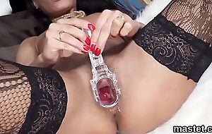Wicked czech cutie stretches her flavourful fuckbox to an obstacle bizarre