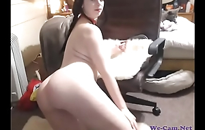 Busty sweeping with sexy ass and pigtails teasing