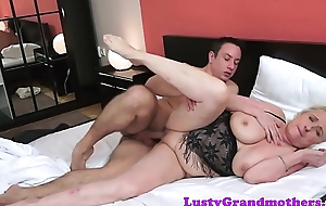 Saggy granny round lingerie gets spooned