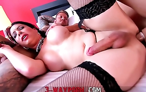 3-WayPorn - 2 Guys on a Tranny on every side Double Anal DAP